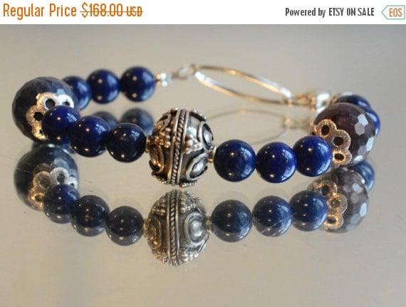 SALE 40% OFF Genuine Gemstone Ruby Sapphire Lapis Lazuli Bali Solid Sterling Silver Beaded Bracelet Heart Bead beadwork 925 .925 Boho Denim