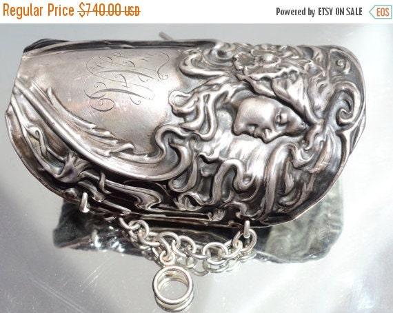 SALE 40% OFF Antique Art Nouveau Goddess Antique Solid Sterling Silver 925 Wide Cuff Bracelet Poppy Floral Bracer Maiden Lady Face Victorian