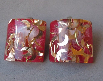 Vintage 1950's Op Art Modernist Red Lucite Earrings with Gold Glitter Crescent Moons