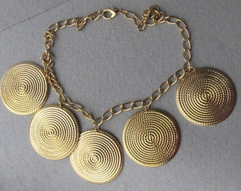 1980's Vintage BIG Dangling Gold Tone Medallions Necklace