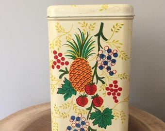 Vintage 1940's CHEINCO Tin Storage Box Kitchen Food Canister
