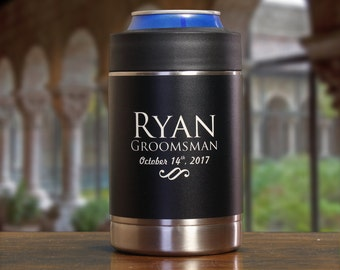 Groomsman Gift, Personalized Can Cooler, Black