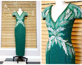 HEAVY Hand Beaded Silk Gown / Dark Emerald Green Beaded Sequin Embellished Gown • Braxae Vintage Co.