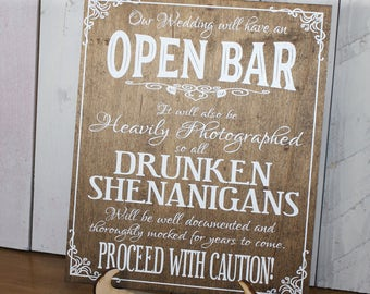 Alcohol Signs/Because no good story/Someone eating a Salad/Open Bar Sign/Sign Set/Wood Sign/Reception Sign/Bar Sign