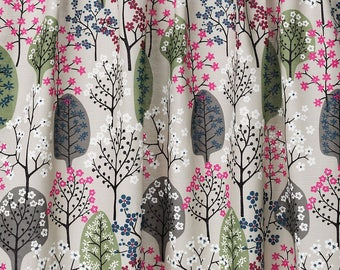 LINEN Curtain panel natural beige green pink black Trees Forest Decor Cafe curtain Kitchen valance , runner , napkins available, great GIFT