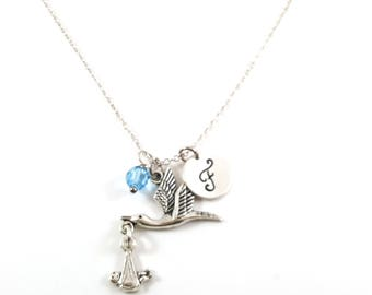 Stork Carrying A Baby - Boy Baby - Swarovski Birthstone - Personalized Initial Necklace - Sterling Silver Jewelry - Gift for Her