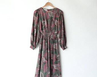 Vintage dress | Japanese | 70s 80s | long sleeves | floral dress