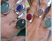 Rings Awesome Sterling Silver open Rings with Rhodonite,Chalcedony,Ruby,Labradorite ,Quartz Stone