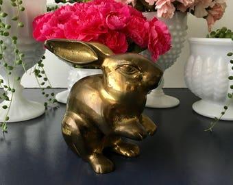 vintage brass bunny rabbit figurine nursery decor