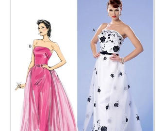 Butterick B6353 Misses' Vintage 1950s Style Misses' Strapless Dress, Detachable Train and Belt Sewing Pattern