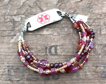 Red velvet Gemstone Medical Bracelet - Includes FREE Medical ID tag with Engraving