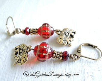 Gold and Red Elephant Earrings Indian Elephant Dangles Bohemian Style Red Czech Glass Earrings Boho Earrings Exotic Colorful Gift for Her