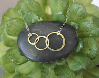 Two Tone Gold Triple Circle Linked Pendant with 925 Sterling Silver Chain - Sisters, Best friends, Friendship Necklaces