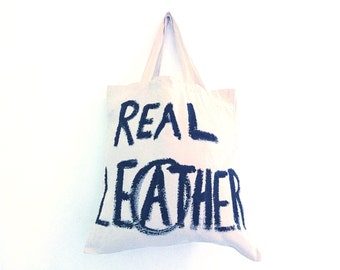 READY to SHIP Real Leather Arnachy TOTE Shopper Cotton Eco Unisex Handheld Bag / Eve Damon