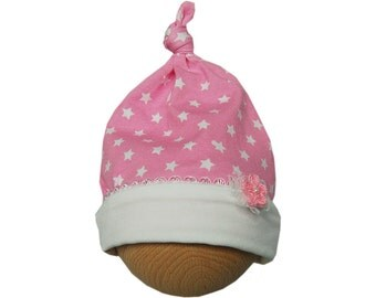 Baby hat with knot and flower pink/white