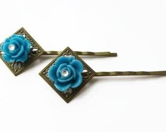Blue flower hair accessories, hair jewellery, decorative bobby pins, hair decorations, ladies hair clips, floral hair grips, blue hair clips