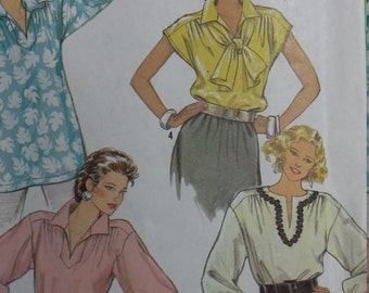UNCUT and FF Pattern Pieces Vintage Simplicity 9872 Sewing Pattern Tops in Two Lengths and Scarf