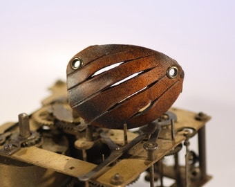 steampunk leather eye patch , ripped open  (made to order)