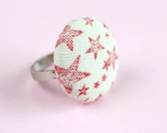 Star Button Ring, Hand Stamped Fabric Ring, Fabric Covered Button