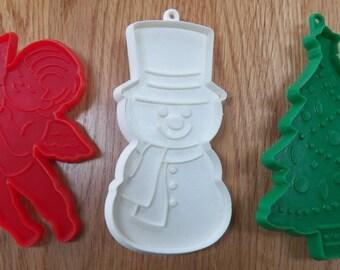 Lot of 3 Christmas HALLMARK Cookie Cutters~Snowman/Tree/Cherub Angel Plastic