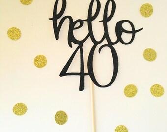 Hello 40 black glitter caketopper birthday wedding babyshower partydecor