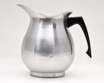 Vintage Aluminum Pitcher with Spout and Black Handle