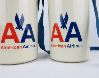 Vintage American Airlines Aladdin Thermos Pair