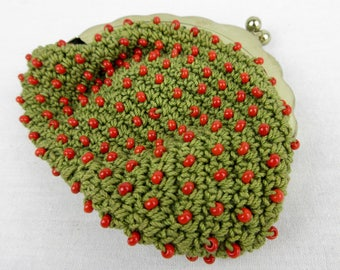 Vintage Coin Purse, Hand Crocheted / Beaded