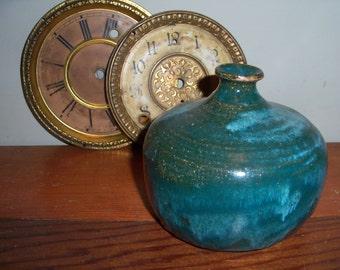 Vintage Handmade Gorgeous Stoneware Heavy Vase Blue Aqua Pottery
