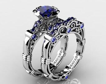 Art Masters Caravaggio 10K White Gold 1.0 Ct Sri Lanka Blue Sapphire Engagement Ring Wedding Band Set R623S-10KWGNBS