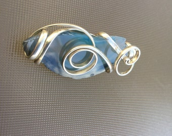 Sterling Silver Pendant with Blue Layered Rock Stone