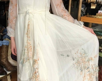 Boho Bridal Dress, Wedding Dress Cream with Light Floral, Rona New York