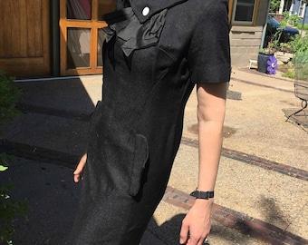 Vintage 1960's Short Black Linen Dress, Short sleeve Dress, Jackie O Style