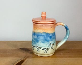 Handmade porcelain steeping tea mug with lid and saucer