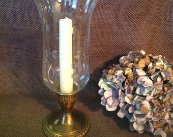 Brass candleholder candle holder candlestick with etched glass crystal hurricane chimney traditional romantic cottage retro chic home decor