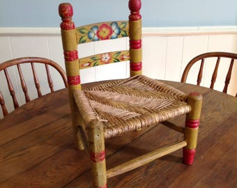Small wooden chair child doll hand painted wood rush seat display photo prop rustic farmhouse folk country cottage chic furniture home decor