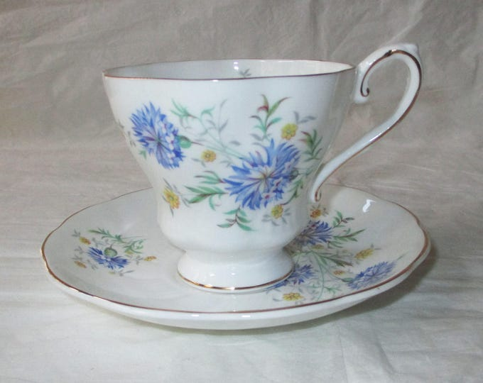 Royal Grafton Fine Bone China Cup & Saucer, BLUE CORNFLOWERS, Gold Trim (c. 1960s)