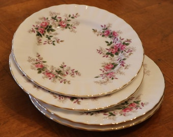 "Royal Albert ""Lavender Rose"" Pattern English Fine Bone China Set of Four Bread Plates"