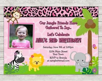 Jungle Girl Birthday Invitation, Pink Jungle Safari Girl Invite - Printable File or Printed Invitations