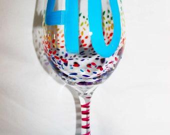 40th birthday, wine glass, 40th BIRTHDAY GIFT, Birthday Wine glass