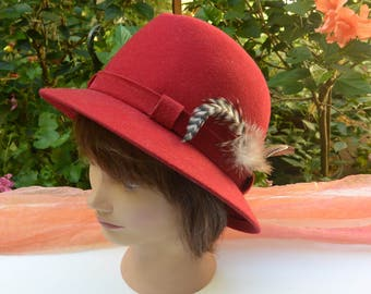 SALE!!! Bollman Wool Hat - 100% Red Wool, Dress Hat, Made in USA, Great Shape - Vintage - Stunning!