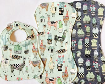 Baby Bib & Burp Cloth Gift Set - Baby Boy - Baby Girl - Organic Bib - Organic Burp Cloth - Cactus Burp Cloth Set