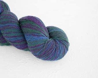 Knitting art wool  blue purple colors, Longstriped artistic wool. Aade Long -  8/1