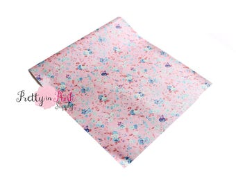Pale Pink Floral Pearlized Soft Faux Vinyl Fabric Sheet- Floral Fabric Sheet-A4 or A5 vinyl Fabric Material-DIY Hair Bows 1mm Thick