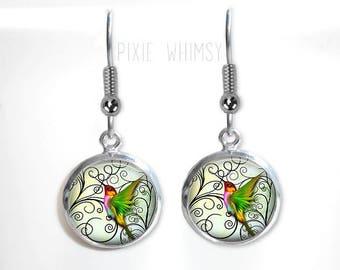 HUMMINGBIRD Earrings, Hummingbird Dangle Drop Earrings Glass Dome Photo Art Nature Jewelry Gift for Bird Lover Watcher Ornithologist