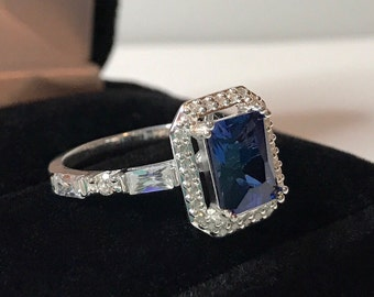 Gorgeous 2.5ctw Sapphire Ring Sz 7 8 Sterling Silver White Sapphires Jewelry Trends Gemstones Blue Sapphire Ring September Birthstone Fiancé