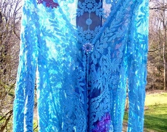 Lace Top, Upcycled, Blue, Romantic, Gift, Art,  Shabby Chic, Accessories, Victorian, Embellishments