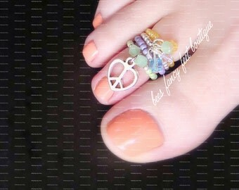 Stacking Toe Ring | Peace | Love | Heart Charm | Crystals | Stretch Bead Toe Ring