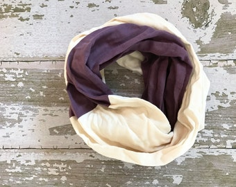 Double Gauze Infinity Scarf in Cream and Plum
