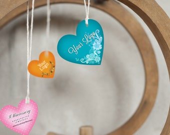 20 Custom PRODUCT Tags with Holes  - Heart Shape Tag - Product Tag